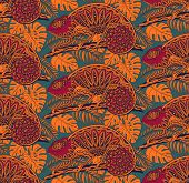picture of chameleon  - Seamless pattern with ornamental chameleons in jungle - JPG