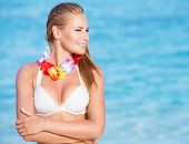 picture of hawaiian flower  - Portrait of beautiful happy woman on the beach party - JPG