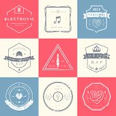 picture of rap  - Vector badges rock music rap classical and electronic music - JPG