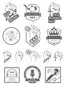 Постер, плакат: Set Logo And Badges Rap Music