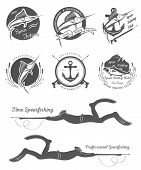 image of spearfishing  - Big set of badges stickers and prints spearfishing isolated on white background - JPG