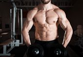 picture of lifting weight  - Closeup of a muscular young man lifting weights - JPG
