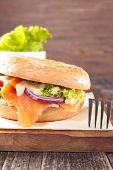 pic of bagel  - bagel with smoked salmon and cheese - JPG