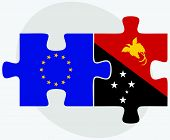 foto of guinea  - European Union and Papua New Guinea Flags in puzzle isolated on white background - JPG