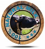 picture of cow head  - Wooden round icon or symbol with head of cow and text 100  - JPG