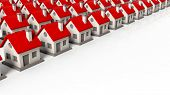 picture of row houses  - House models in rows isolated on white background - JPG