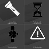 image of wrist  - Flashlight Hourglass Wrist watch Warning sign - JPG