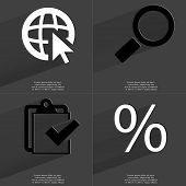 image of tasks  - Web icon with cursor Magnifying glass Task completed icon Percent sign - JPG
