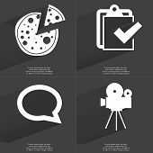 picture of tasks  - Pizza Task completed icon Chat bubble Film camera - JPG