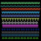 stock photo of stitches  - Set of Sewing Stitch Isolated on Black Background - JPG