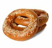 picture of sesame seed  - Bagels with sesame seeds isolated on white background - JPG