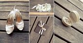 stock photo of shoe-box  - collage bridal accessories on the wooden floor - JPG