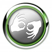 pic of nonverbal  - Icon Button Pictogram with Sign Language symbol - JPG