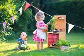 stock photo of little young child children girl toddler  - Kids playing with a toy kitchen. Children play in a summer garden. Boy and girl cooking and baking healthy vegetables in the backyard. Toddler child and baby cook together. Outdoor fun in summer. ** Note: Shallow depth of field - JPG