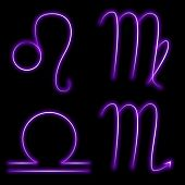 stock photo of scorpio  - Set of glowing purple signs of the zodiac - JPG