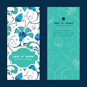stock photo of swirly  - Vector blue green swirly flowers vertical frame pattern invitation greeting cards set graphic design - JPG