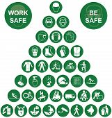 image of ppe  - Green construction manufacturing and engineering health and safety related pyramid icon collection isolated on white background with work safe message - JPG