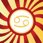 picture of cancer horoscope icon  - Yellow icon with zodiac Cancer symbol - JPG