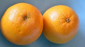 stock photo of valencia-orange  - CLoseup of 2 valencia oranges in a blue bowl - JPG