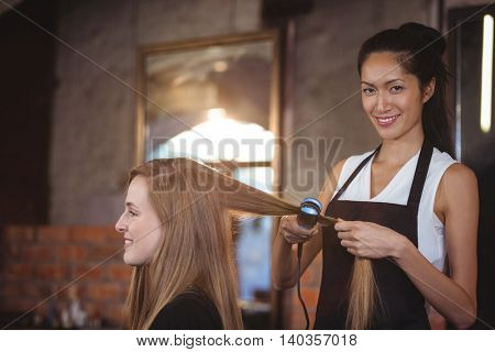 poster of Female hairdresser straightening the hair of a client at a salon