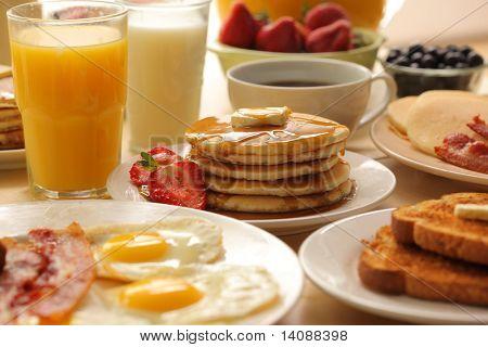 Постер, плакат: Завтрак продукты, холст на подрамнике