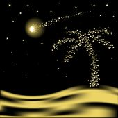 Vector Christmas palm tree with falling star in desert