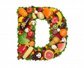 image of letter d  - Letter made of fresh fruits and vegetables isolated on white - JPG