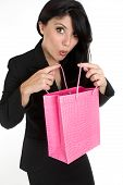 Expressive Woman With Shopping Bag