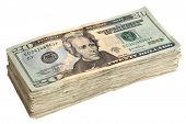 picture of money stack  - Stack of Twenty Dollar Bills - JPG