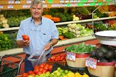 Mature man in grocery store