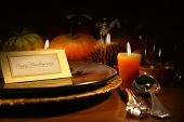 image of fall decorations  - Table setting ready for Thanksgiving - JPG