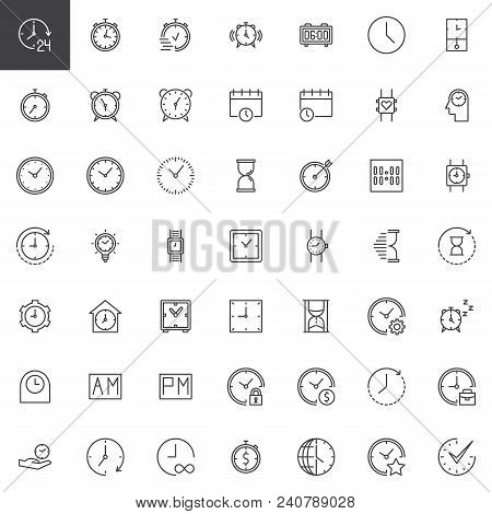 poster of Time Outline Icons Set. Linear Style Symbols Collection, Line Signs Pack. Vector Graphics. Set Inclu