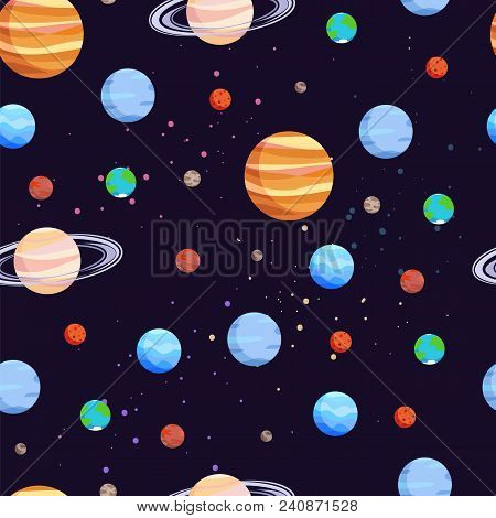 Space And Planets Seamless Pattern