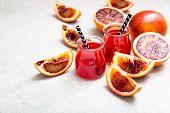 Blood Orange Juice. Red Orange Juice With Orange Slice poster