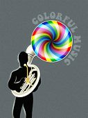 Sousaphone player silhouette with colorful music out