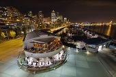 Seattle City Skyline And Marina At Night
