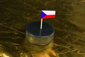 Hockey Puck With The Inscription `czech Republic` And The Flag Of The Czech Republic On The Golden B poster