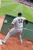 Boston - August 8: New York Yankees Starting Pitcher, #52, c.c. Sabathia wärmt bis In die Besuch-Bu