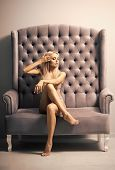 Sensual Woman In Sexi Underwear, Erotic. Woman In Sexy Lingerie Sit On Sofa, Fashion. Fashion Model  poster