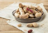 Peanut In Shell Texture And Background. Peanuts Texture. Shelled Peanuts. Healthy Food. Close Up Vie poster