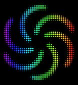 Dot Colorful Halftone Galaxy Icon In Spectrum Color Hues With Horizontal Gradient On A Black Backgro poster