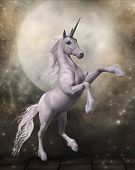 3d Render Of A Magical Unicorn In Front Of A Fairytale Moon poster