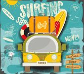 Surfing Poster - Retro Hawaii. Mini Van With Surfboards And Vintage Suitcase. Vector Illustrator. poster