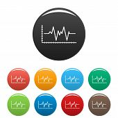 Cardiogram Icon. Simple Illustration Of Cardiogram Vector Icons Set Color Isolated On White poster