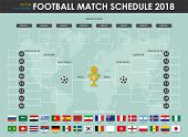 Football Or Soccer Cup Match Schedule And Wall Chart . Vector For International World Championship T poster