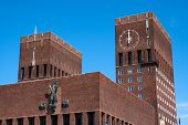 picture of nobel peace prize  - Oslo City Hall towers close up on a blue sky - JPG