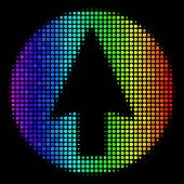 Dotted Bright Halftone Rounded Arrow Icon Using Rainbow Color Tones With Horizontal Gradient On A Bl poster