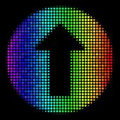Dotted Bright Halftone Rounded Arrow Icon In Spectral Color Hues With Horizontal Gradient On A Black poster