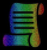 Dotted Impressive Halftone Script Roll Icon In Rainbow Color Shades With Horizontal Gradient On A Bl poster