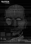 Glitch Screen. Head, Face Of A Man In The Style Of The Screen Of Error. Test Screen Glitch Texture,  poster